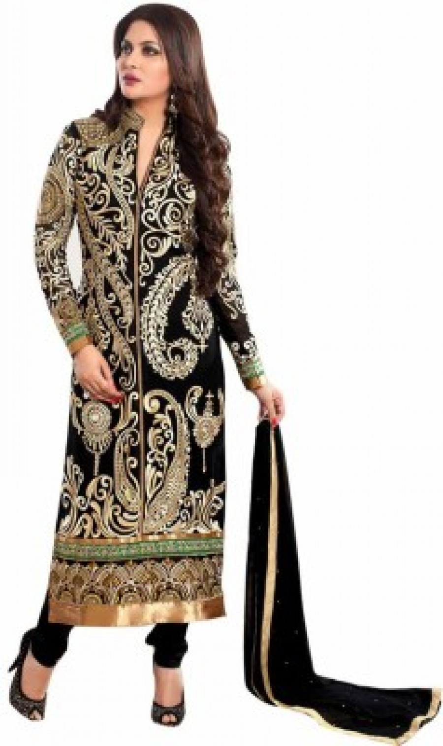 a9db7c125 Buy Snh Export Georgette Embroidered Semi stitched Salwar Suit Dupatta  Material Semi stitched Online