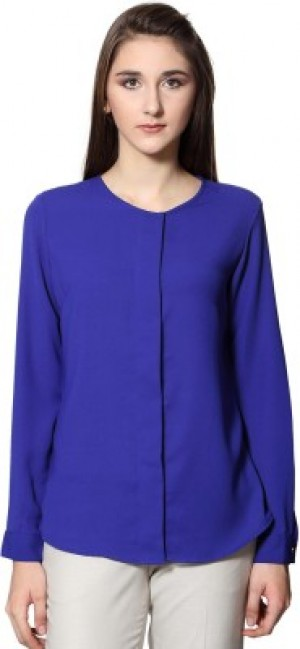 Buy  Van Heusen Casual Full Sleeve Solid Women s Blue Top Online