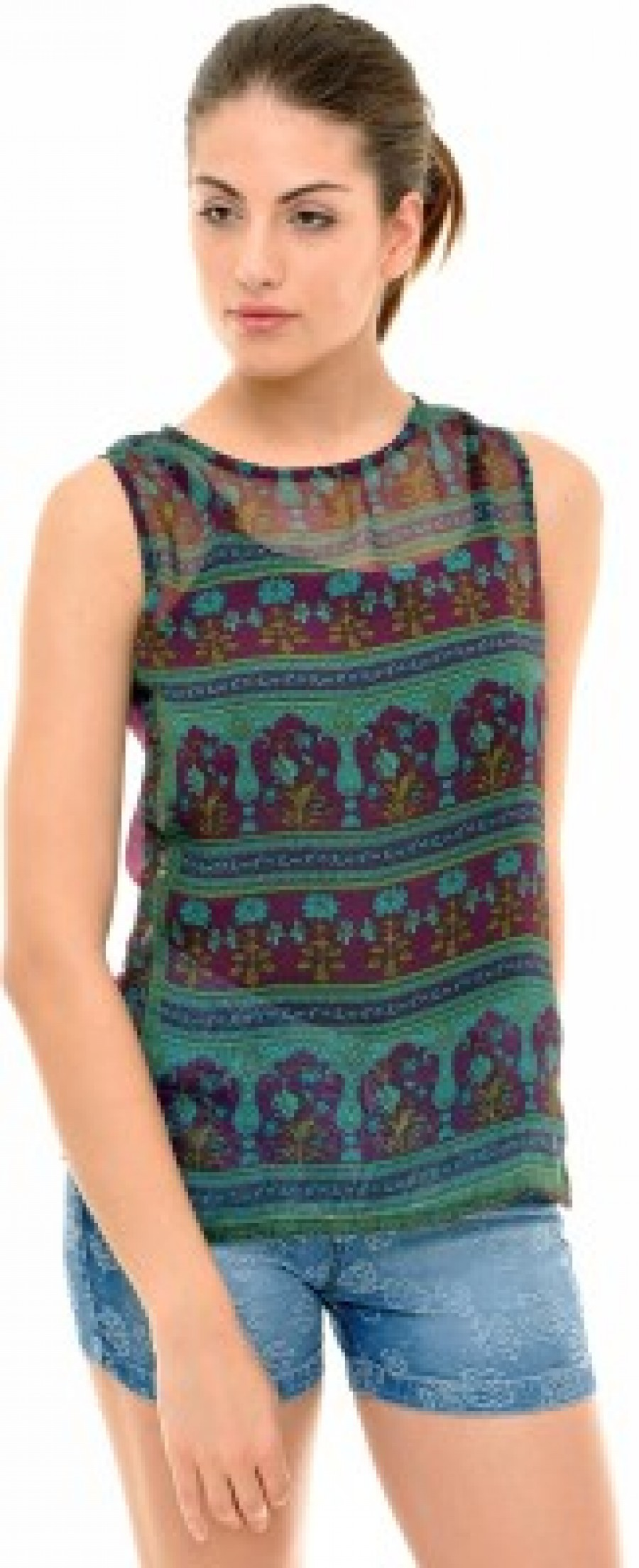 Buy  Indiwagon Casual Sleeveless Printed Women s Green Top Online