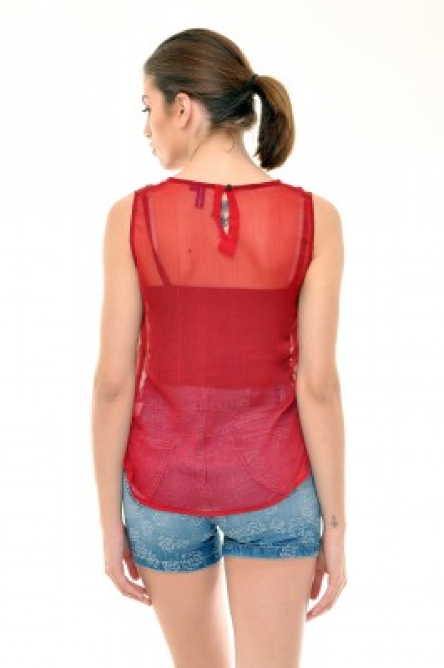 Buy  Indiwagon Casual Sleeveless Printed Women s Red Top Online