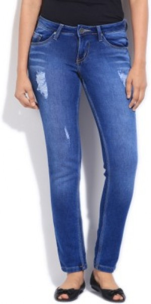 Buy People Low Rise Skinny Fit Womens Blue Jeans Online