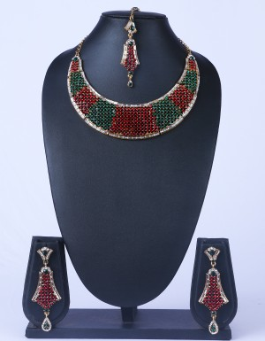 Buy Red Green Stone Studded Wedding Necklace Set Online