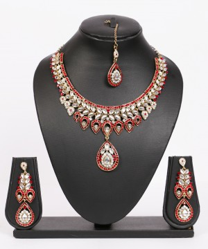 Buy Red Gold Kundan Stone Studded Drop Necklace Set Online