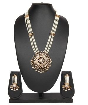 Buy Pastel Gold Four Layer Pearl Chain Rani Haar Necklace Set Online