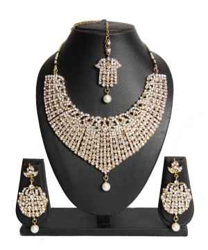 Buy Gold Silver Stone Studded Pearl Drop Wedding Necklace Set  Online