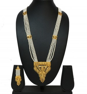 Buy Traditional Gold Pearl Chain Royal Rani Haar Necklace Set  Online