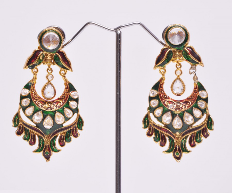 Buy Red Green Gold Polki Leaves DanglerEarrings Online