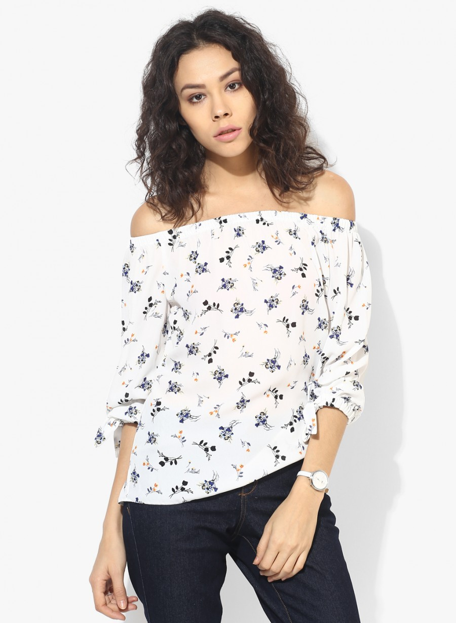 48e812cac63 Buy Exclusive Dorothy Perkins Ivory Ditsy Bardot Top at best price ...