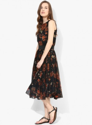 Buy MIAMINX Black Colored Printed Skater Dress Online