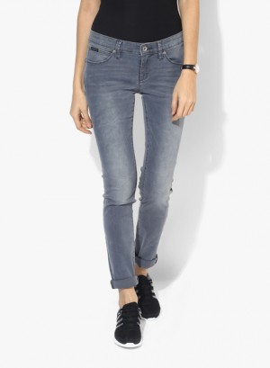 Buy Calvin Klein Jeans Grey Washed Mid Rise Skinny Jeans Online