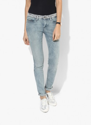 Buy Calvin Klein Jeans Light Blue Washed Mid Rise Skinny Jeans Online