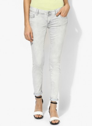 Buy Mexx Grey Solid Mid Rise Skinny Jeans Online