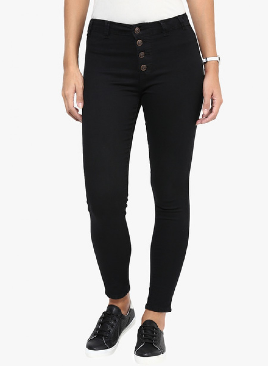 Buy Code 61 Black Solid Mid Rise Skinny Fit Jeans Online