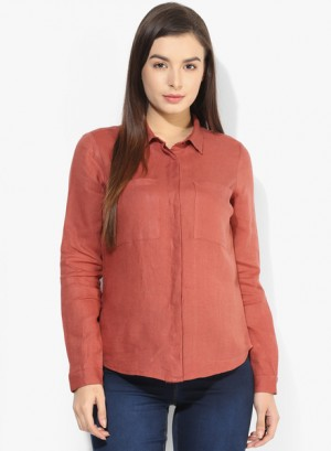 Buy Only Rust Solid Shirt Online