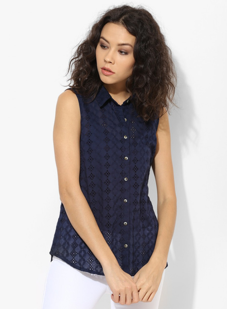 Buy Dorothy Perkins Navy Blue All Over Broderie Shirt Online