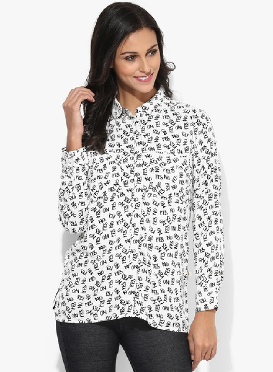 Buy United Colors of Benetton White Printed Shirt Online