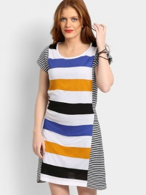 Buy abof Women White & Blue Striped Regular Fit Long Top Online