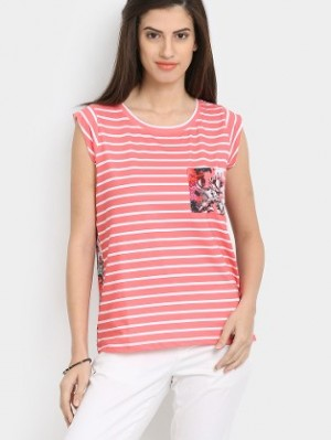 Buy abof Women Coral Pink & White Striped & Printed Regular Fit Top Online
