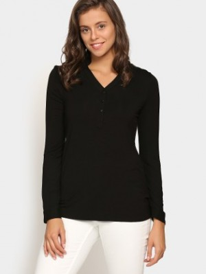 Buy Femella Women Black Regular Fit Top Online