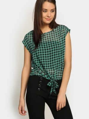 Buy abof Women Sea Blue & Black Checkered Regular Fit Top Online