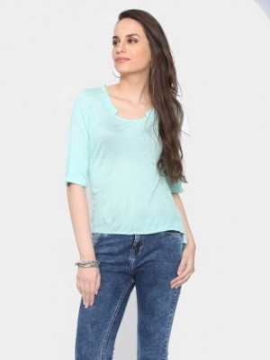 Buy abof Women Turquoise Blue Regular Fit Top Online
