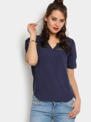 Buy Harpa Women Navy Regular Fit Top Online