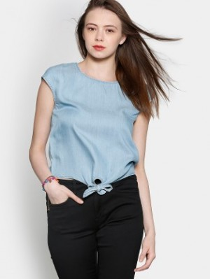 Buy Only Women Blue Regular Fit Denim Top Online