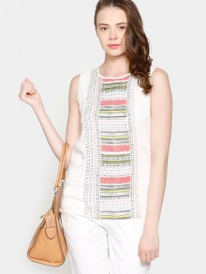 Buy AND Women White Printed Regular Fit Top Online