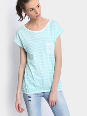 Buy abof Women Mint Green Striped Top Online