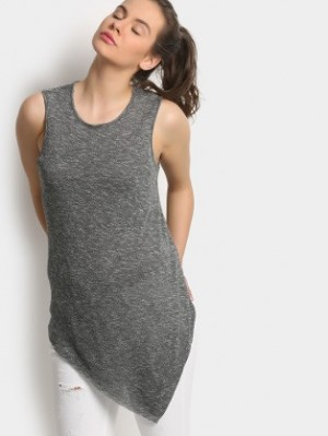 Buy abof Women Dark Grey Melange Regular Fit Top Online