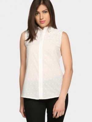 Buy abof Women White Embroidered Comfort Fit Top Online