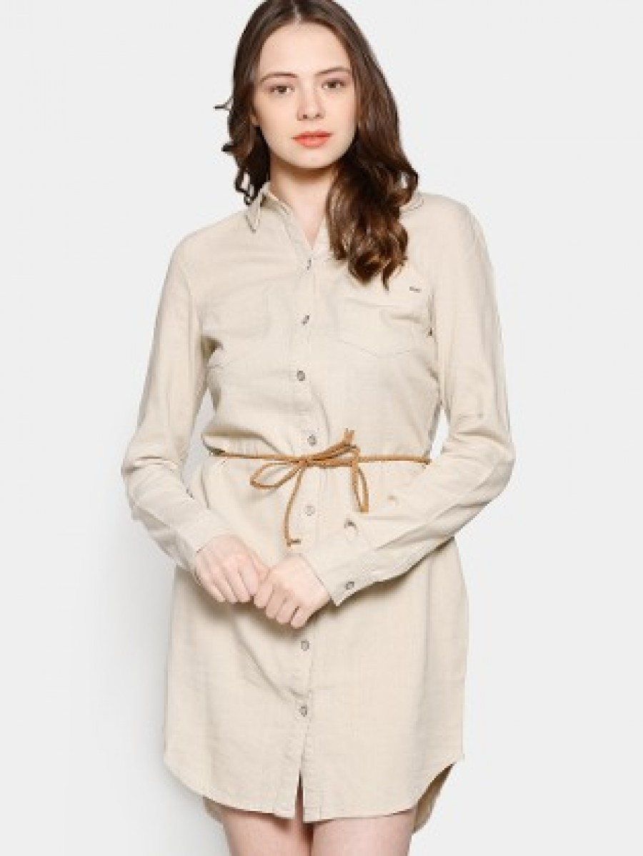 Only women off white linen blend shirt dress online Buy white dress shirt