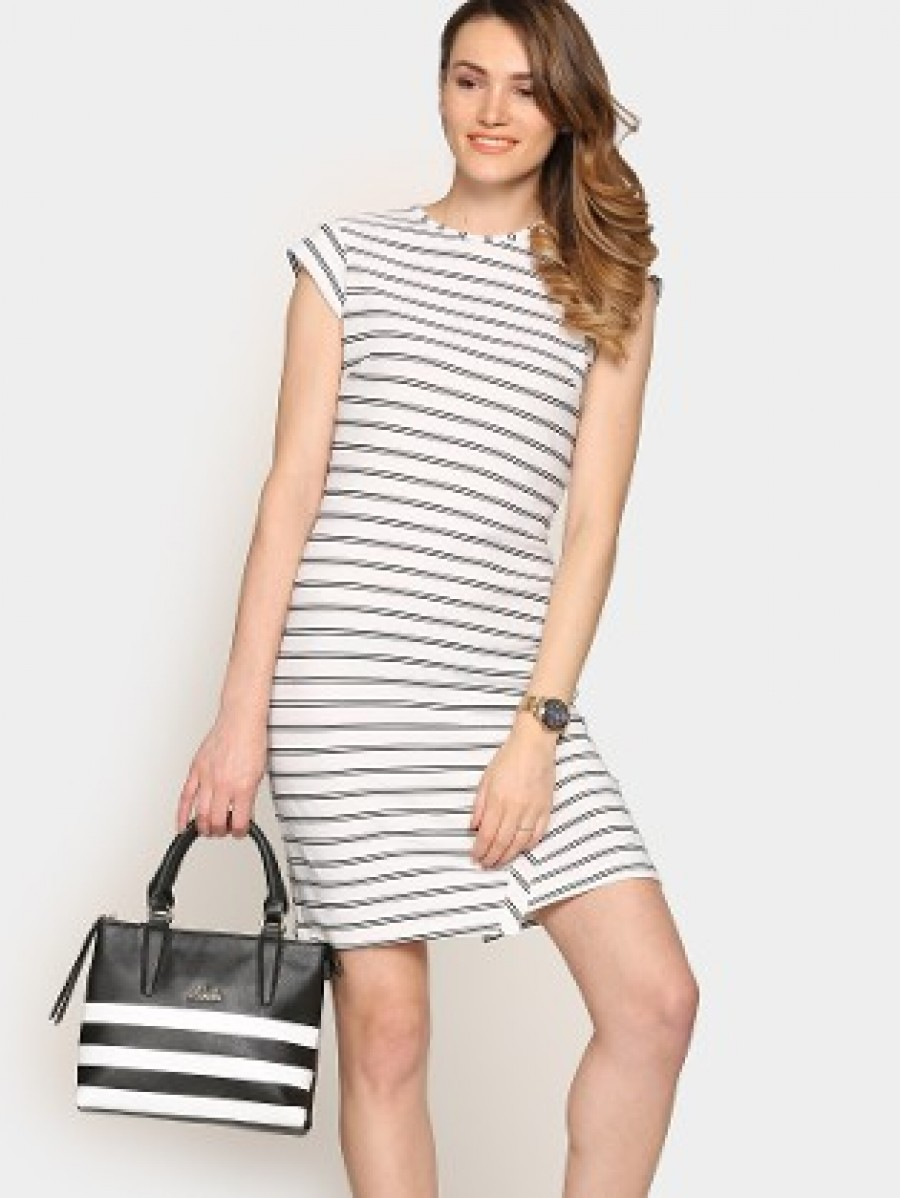 Buy abof Women White Striped Sheath Dress Online