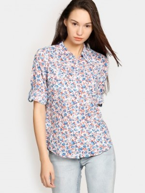 Buy Bare Denim by Pantaloons Women White & Blue Printed Regular Fit Shirt Online