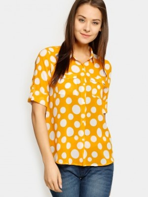 Buy abof Women Mustard Yellow Polka Dot Print Regular Fit Shirt Online