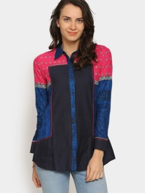 Buy W Women Blue & Pink Printed Regular Fit Casual Shirt Online