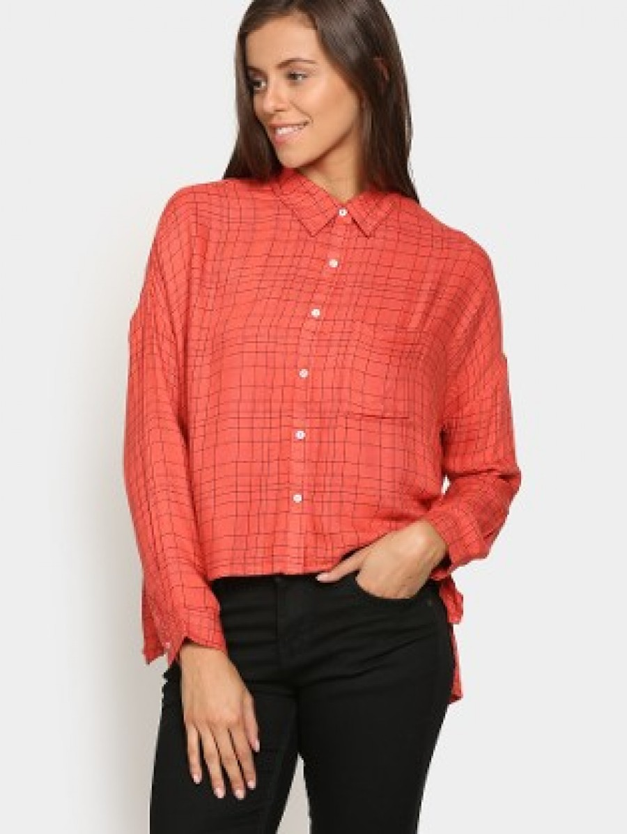 Buy Vero Moda Women Coral Orange Checkered Regular Fit Shirt Online