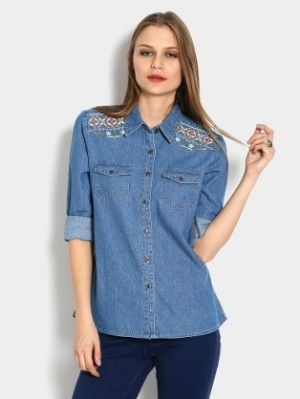 Buy abof Women Light Indigo Blue Denim Regular Fit Shirt Online
