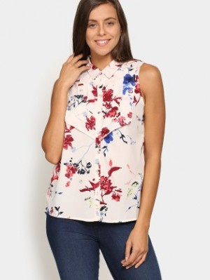 Buy Vero Moda Women Cream colored Floral Print Regular Fit Shirt Online