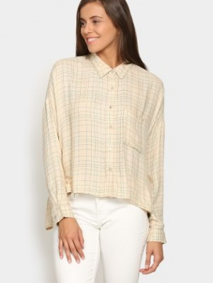 Buy Vero Moda Women Cream colored Checkered Regular Fit Casual Shirt Online