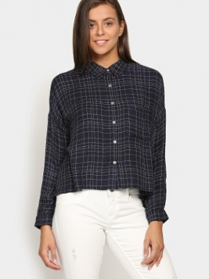 Buy Vero Moda Women Navy Checkered Regular Fit Shirt Online