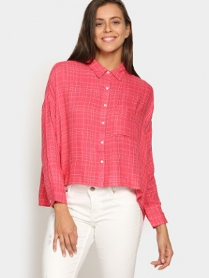 Buy Vero Moda Women Coral Red Checkered Regular Fit Shirt Online