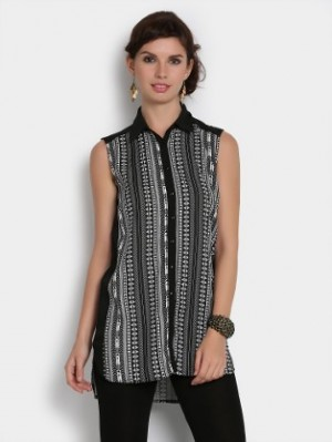 Buy Femella Women Black & White Aztec Print Relaxed Fit Shirt Online