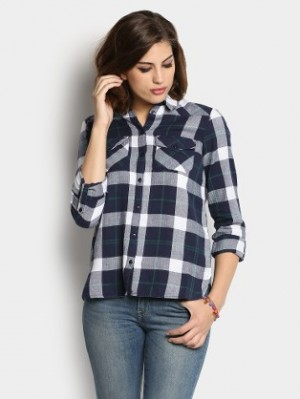 Buy Vero Moda Women Navy & White Checkered Shirt Online