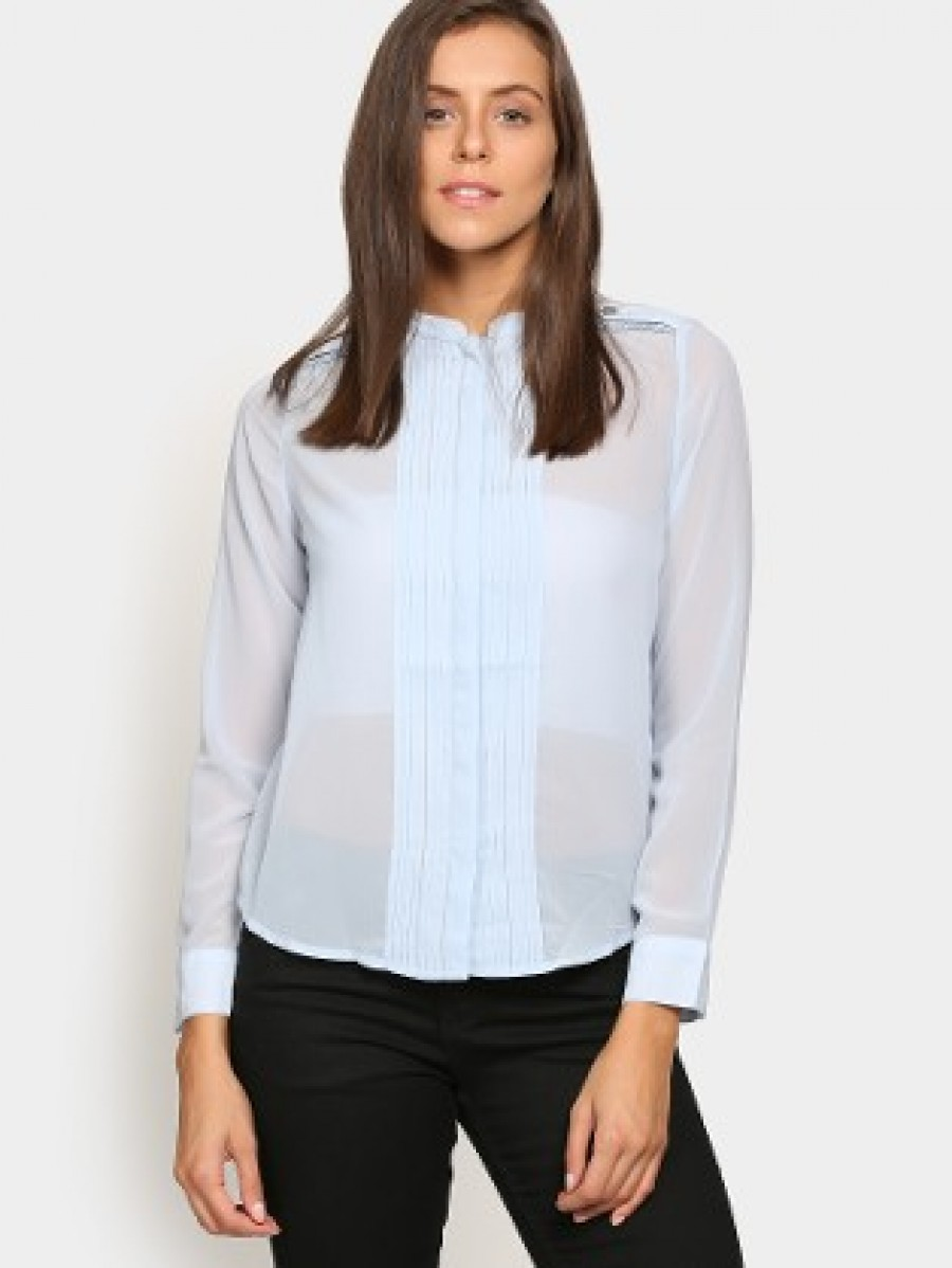 Buy Vero Moda Women Blue Regular Fit Sheer Shirt Online