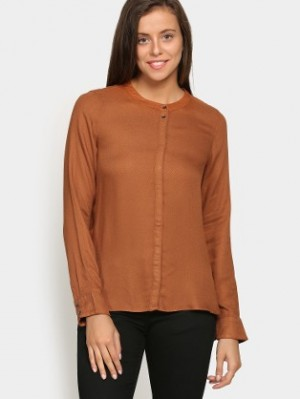 Buy Vero Moda Women Cathy Copper Brown Regular Fit Casual Shirt Online