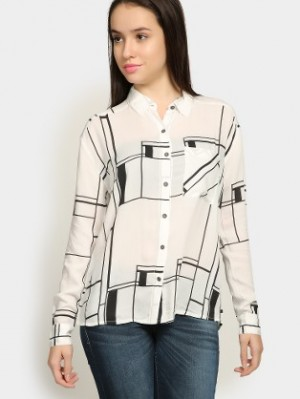 Buy Lee Women Gwen White Printed Regular Fit Shirt Online