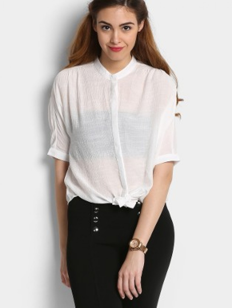 Buy Only Women White Sheer Regular Fit Shirt Online
