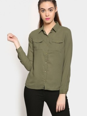 Buy Izabel London by Pantaloons Women Olive Green Regular Fit Casual Shirt Online