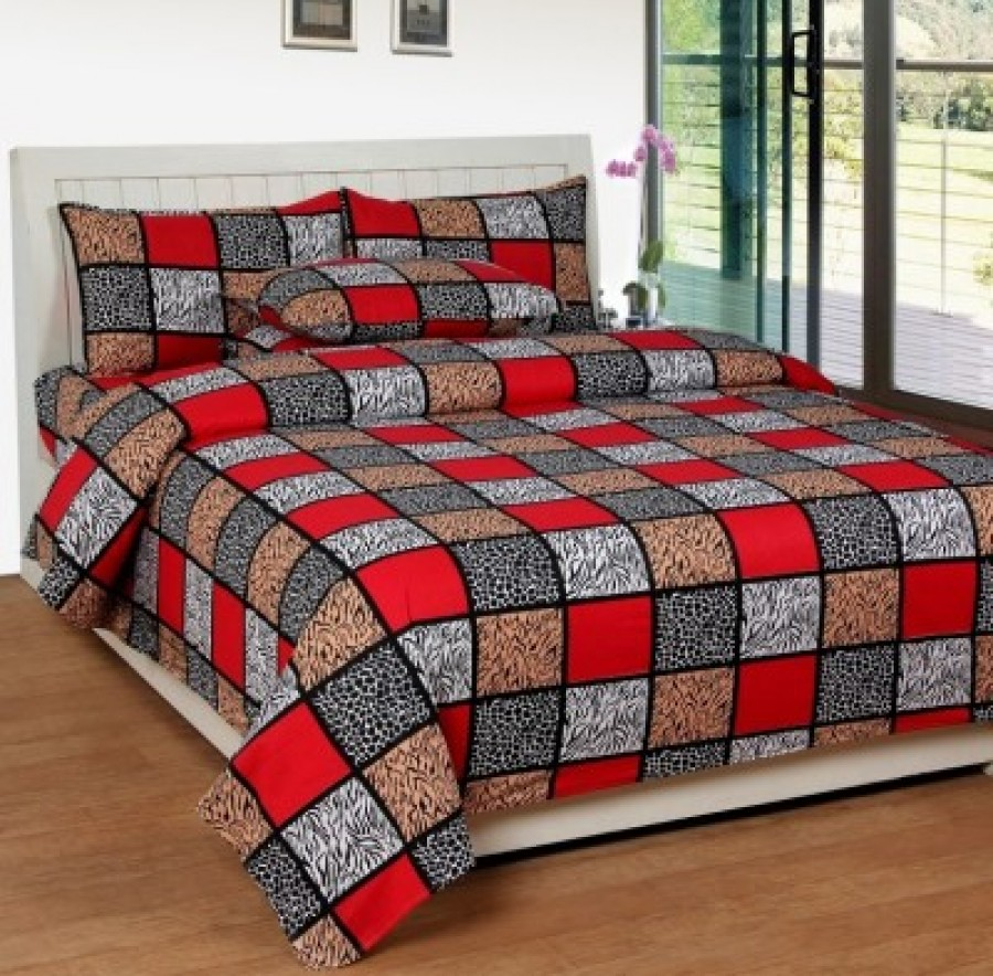 Buy Bed & Bath Cotton Checkered Double Bedsheet Online